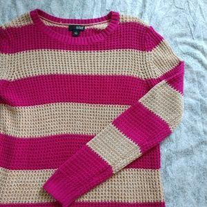A.N.A pink & cream striped sweater size L